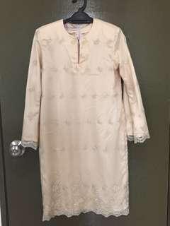 Lace Top Baju Kurung with sarong light dusty peach