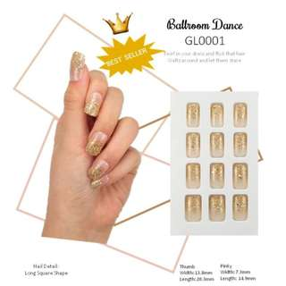 24 Pcs/set  fake nails Ball-Room Dance patch in bling bling design Square Press on Nail Tips for Home Office Party