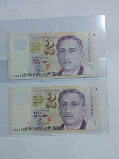 8888 Sg $2 fancy number lot of 2 pcs