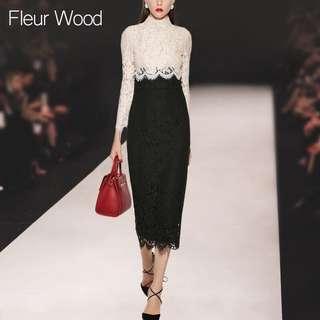 Fleur Wood Full Length Long Sleeves Lace Dress Pink Top Black Skirt