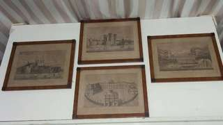 A set of 4 Antique Hand-made Wooden Frames with Palaces etching prints