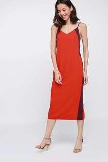BNWT Love Bonito Nathaira Side Cutout Contrast Midi Dress (Sz S Vermillion)