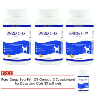 Pure Deep Sea Fish Oil Omega 3 Supplement for Dogs and Cats 100 Soft Gels (set of 3) free Fish Oil Omega 3 Supplement 30 Soft Gels