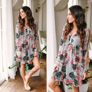 Floral Sleeves Dress