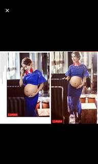 Maternity Photoshoot Blue Lace & Satin Skirt Set