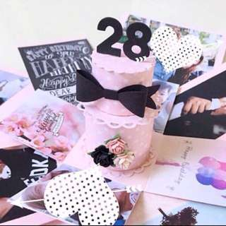 🚚 Happy 28 Birthday Explosion Box Card in Pink and black