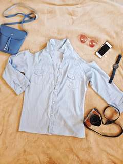Shoulder Cut-out denim top
