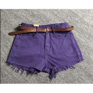 紫色抽鬚牛仔短褲 L