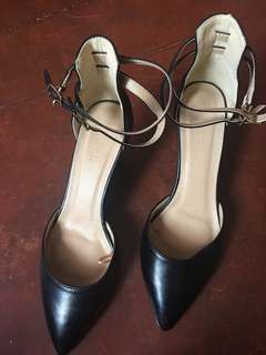 Parisian Black Wedge Heels with Ankle Straps Size 9