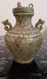 Bronze vase with lid