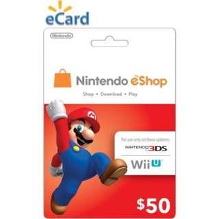 Nintendo eShop switch wiiu 3DS prepaid card 50usd [limited time offer]
