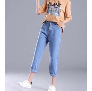 Korean Style Woman High Waist Fashion Casual Loose Jeans