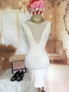 Ice Clothing white mesh bodycon sexy backless white dress