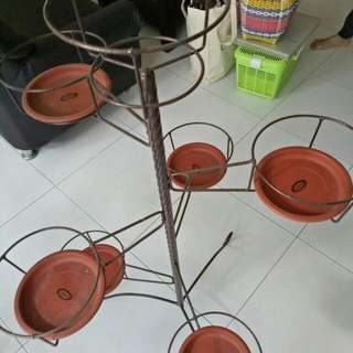 Sweet Vintage Flower Stands With 7 Pcs Pots Holder