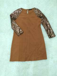 Brown Sequin Loose Dress Terusan Manik Payet Baju Pesta