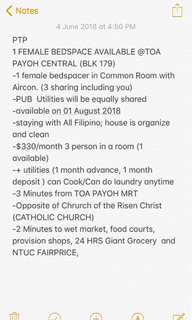 1 Female Filipino bedspace available