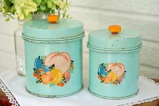 古董掀蓋式儲物罐兩件組