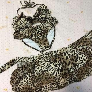 🚚 豹紋比基尼(3件式)泳裝