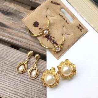 Skin&Moss Vintage復古浪漫唯美粹選珍珠系列耳環仿珠耳栓復古耳環夾式耳環