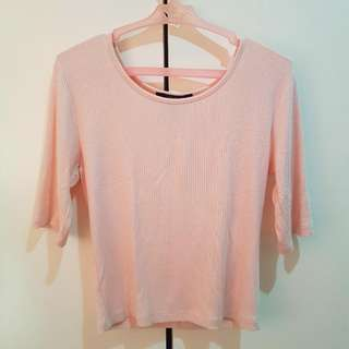 FOREVER 21 PINK 3/4 Ribbed Top