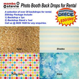 Backdrop Rental: High-quality  photo booth backdrops or backgrounds and backdrop stand
