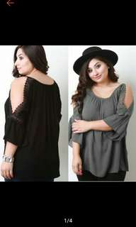 Trendy Off Shoulder Top Blouse Plus Size Cotton