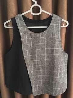 Black & plaid sleeveless