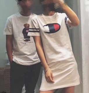 🚚 OshareGirl 05 日單logo純色棉短袖T恤長版上衣連身裙