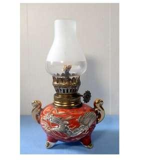 "Antique Japanese oil kerosine lamp ""Dragon"" motif circa early to mid 1950s"