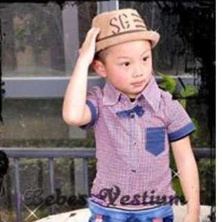 BV BT003 : Boy Stylish Ribbon Checkered Shirt