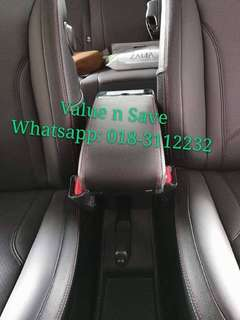 Perodua Myvi 2005-2017 Adjustable Armrest Red Stitch 7USB Port and with Cup Holder