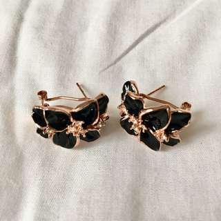 Rhinestone Crystal Stud Earrings with Rose Gold Plating