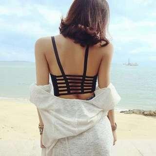 黑色露背打底吊帶內衣 black off back sexy top