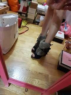 🚚 露趾楔型高根皮毛踝靴