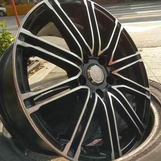 17吋 正Enkei 鋁圈 5孔114 升級拆車鋁圈 黑底車亮面 7.5J ET45 圈面小傷 真圓 限時唯一搶購