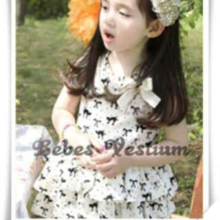 BV GD007 : Kitten-printed Ribbon Tiered Skirt (Detachable Necklace)