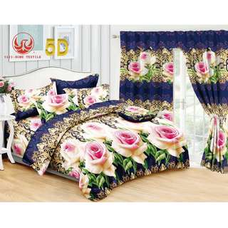 5in1 KOREAN COTTON BEDSHEET with CURTAIN SET '.