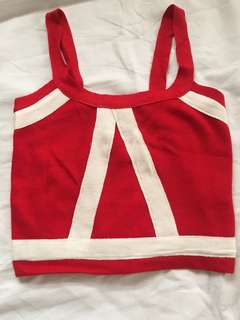 Red and White Cropped Top