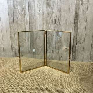 RENT: Double Sided Gold Vintage Glass Photo Frame