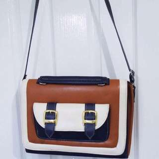 Leather Satchel bag with buckles