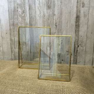 RENT: Gold Vintage Glass Photo Frame - Portrait
