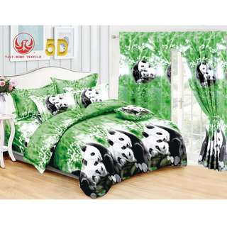 5in1 KOREAN COTTON BEDSHEET with CURTAIN SET '...