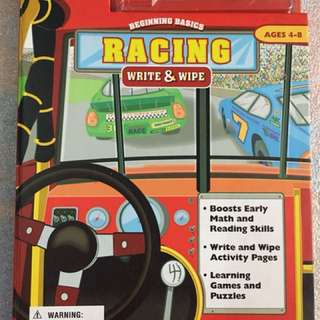 Racing Math Write and Wipe book for kids