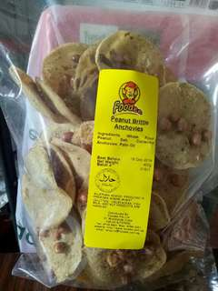 Halal Rempeyek Ikan Bilis Peanut Brittle Anchovies cracker chips