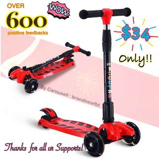 Kick scooter kids scooter foldable 4 wheels with LED lights red FREE Scooter accessories