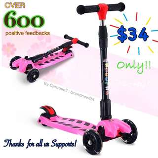 Kick scooter skate kids scooter foldable 4 wheels with LED lights pink FREE Scooter accessories