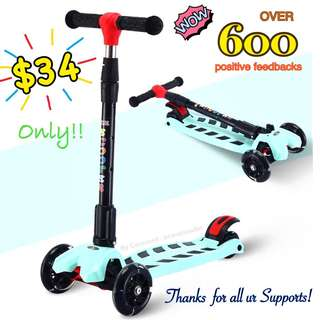Kids Scooter foldable scooter 4 wheels with LED lights turquoise FREE Scooter accessories