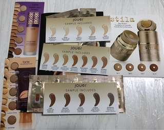 Foundation samples - tarte shape tape matte swatch card, jouer essential high coverage creme foundation sachets (shapetape)