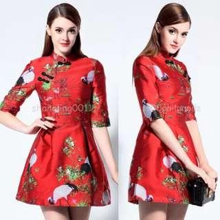 Qipao floral printing cheongsam Chinese dress
