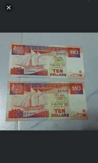 Ship series Singapore notes currency collector's item money $ *N